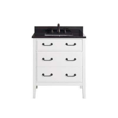 Delano 31 in. W x 22 in. D x 35 in. H Vanity in White with Granite Vanity Top in Black with White Basin
