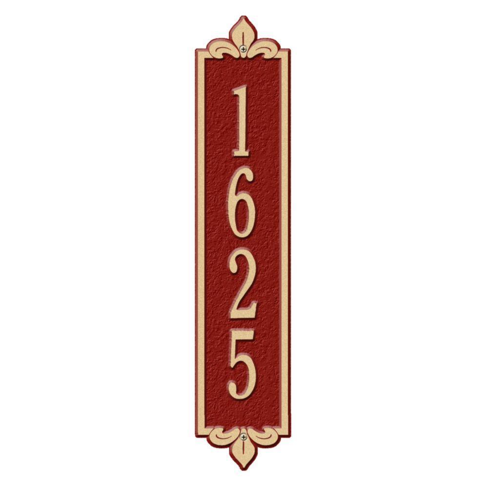 Rectangular Lyon Standard Wall 1-Line Vertical Address Plaque - Red/Gold