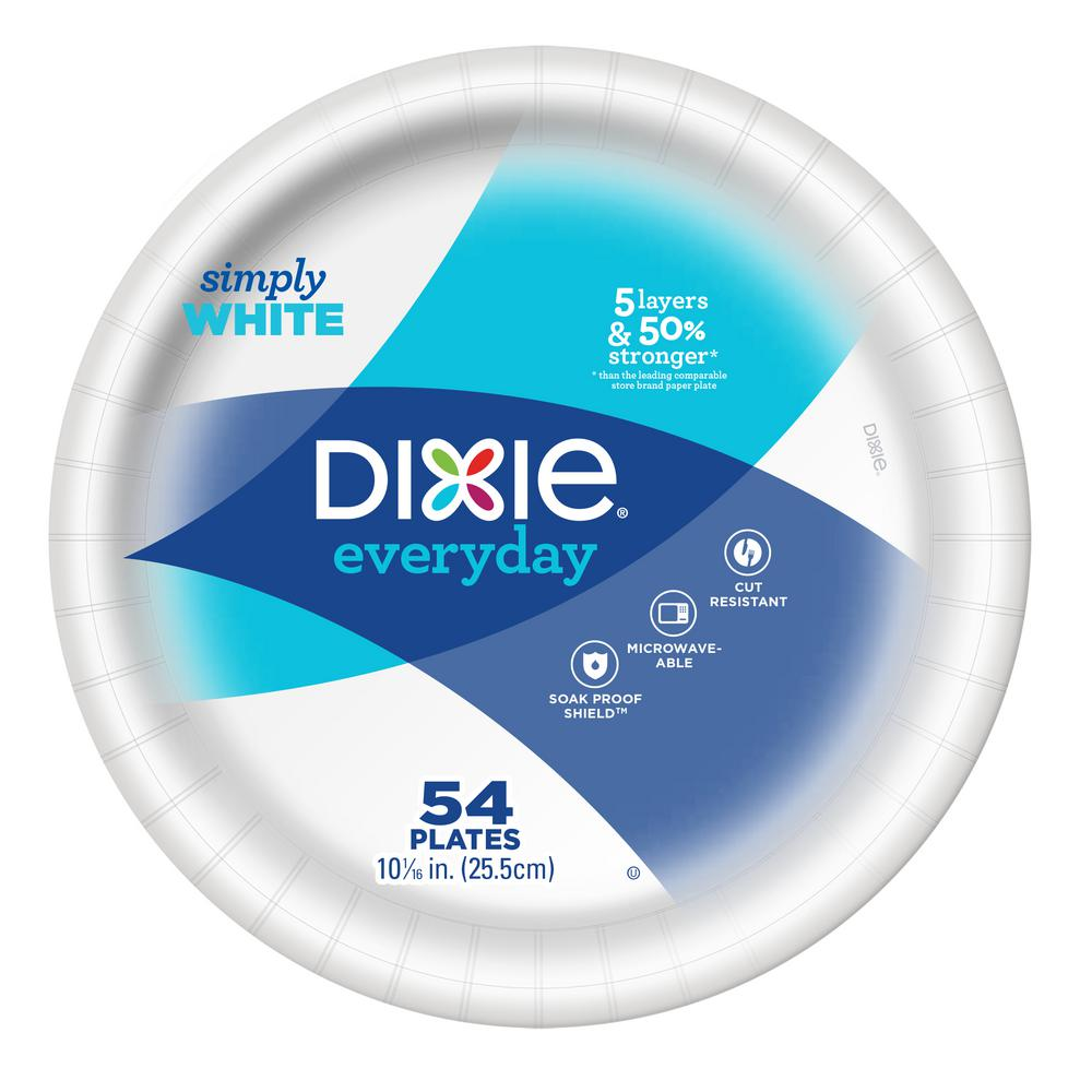 Dixie White Paper Plates (54-Pack)  sc 1 st  The Home Depot & Dixie White Paper Plates (54-Pack)