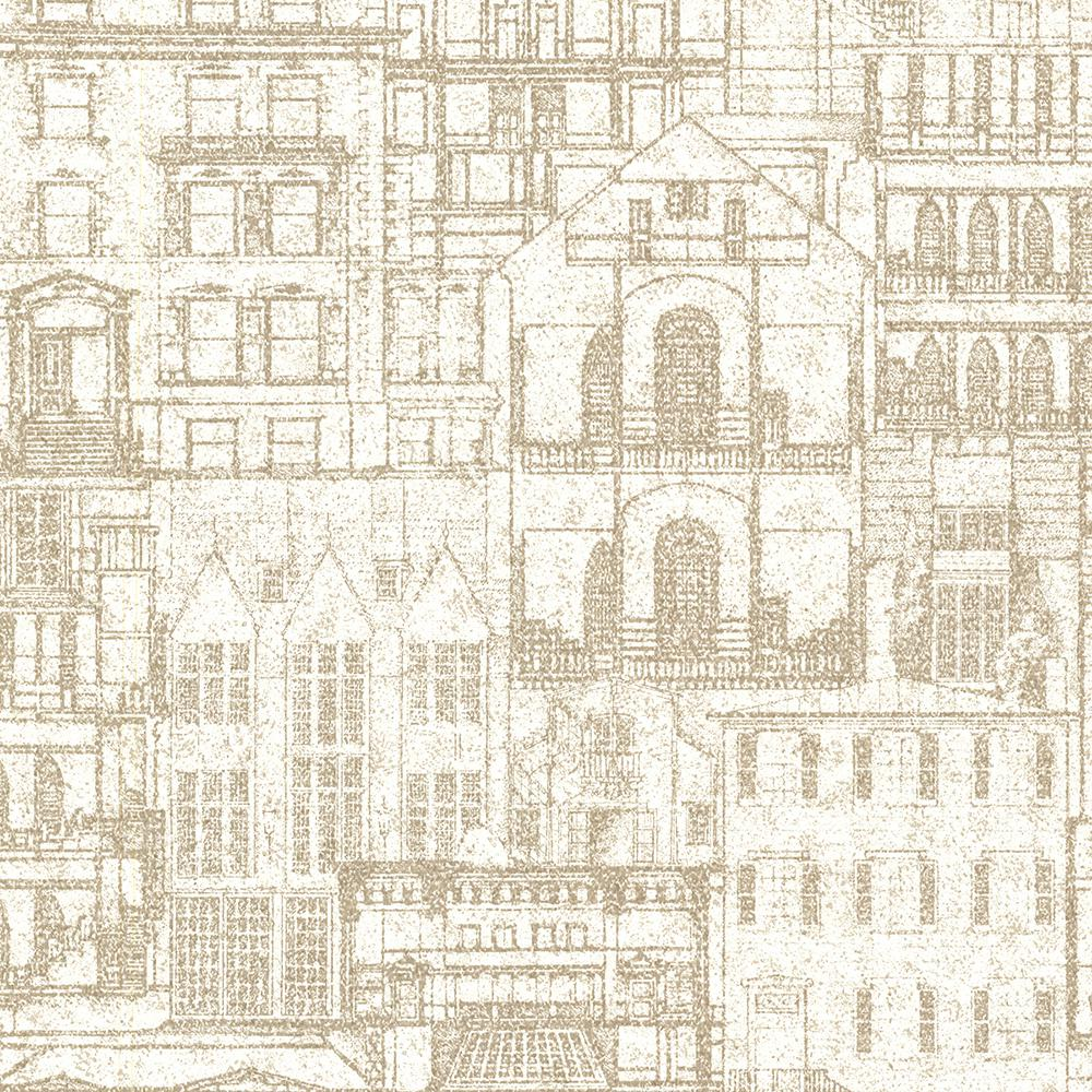 Superb Beacon House Facade Beige Vintage Blueprint Wallpaper Sample
