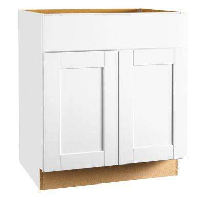 Shaker Assembled 30x34.5x24 in. Sink Base Kitchen Cabinet in Satin White