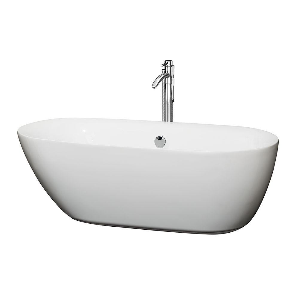 Melissa 65 in. Acrylic Flatbottom Center Drain Soaking Tub in White