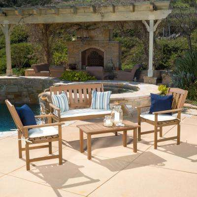 Belize Honey Oak 4-Piece Wood Patio Conversation Set with Cream Cushions
