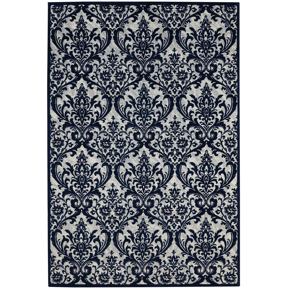 Damask Ivory/Navy 2 ft. 3 in. x 3 ft. 9 in.