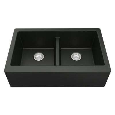 Farmhouse Apron Front Quartz Composite 34 in. Double Bowl Kitchen Sink in Black