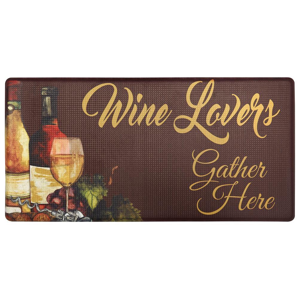 Nicole Miller Cook N Comfort Brown Wine Lovers 20 in. x 39 in. Kitchen Mat