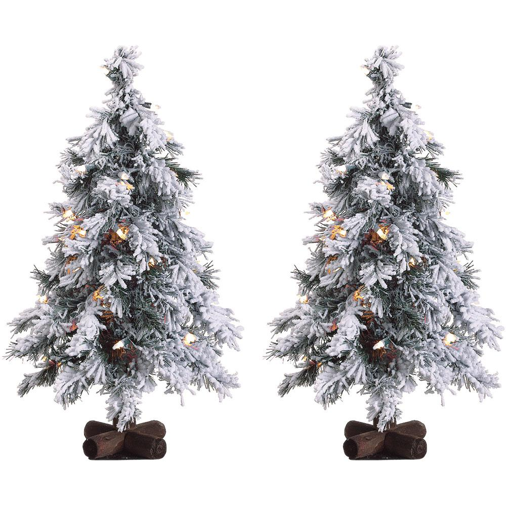 2 ft. Pre-lit Snowy Alpine Artificial Christmas Trees with Clear Lights (Set of 2)
