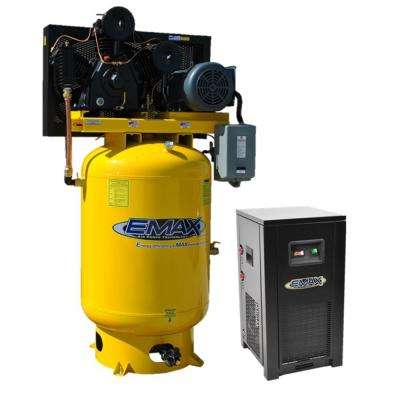 Industrial PLUS Series 120 Gal. 15 HP 3-Phase 2-Stage Stationary Electric Air Compressor with 115 CFM Dryer