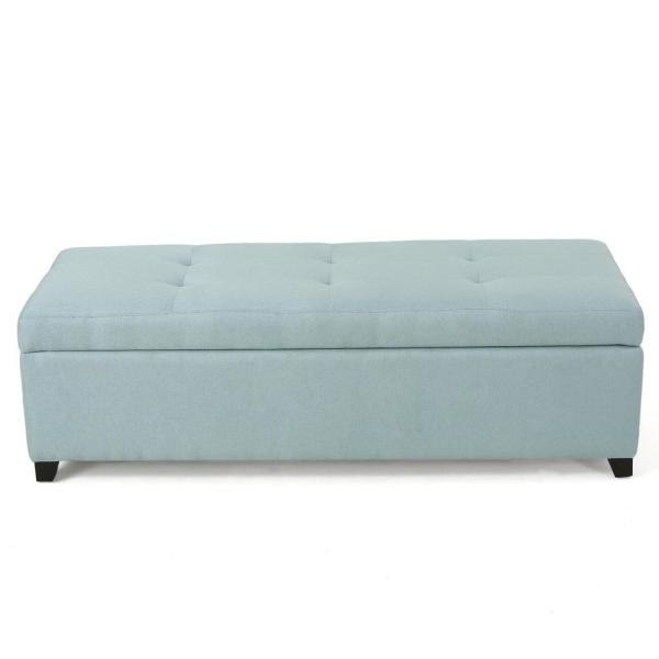 Noble House Brentwood Light Blue Fabric Storage Bench