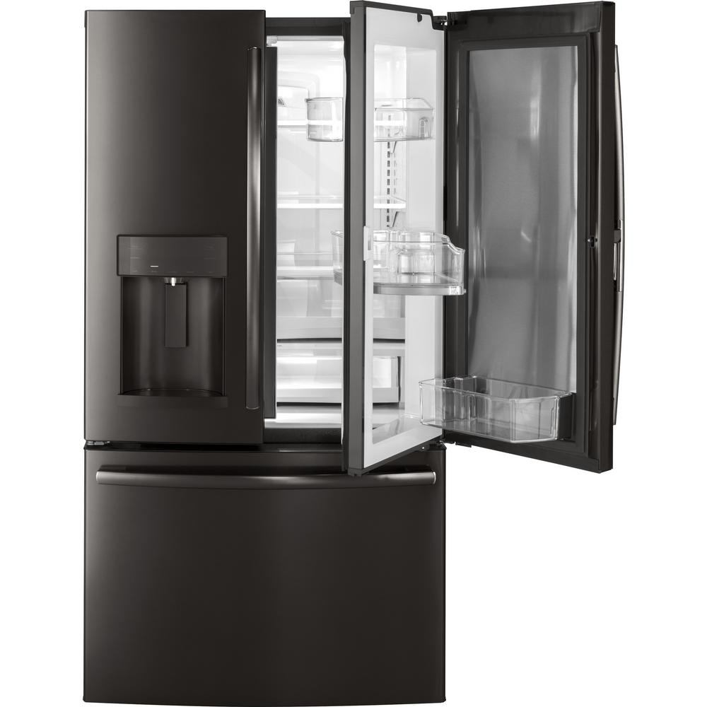 ge 27 8 cu ft french door refrigerator with door in door in black stainless steel gfd28gblts. Black Bedroom Furniture Sets. Home Design Ideas