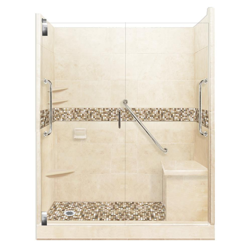 American Bath Factory Roma Freedom Grand Hinged 32 in. x 60 in. x 80 in. Left Drain Alcove Shower Kit in Desert Sand and Chrome Hardware