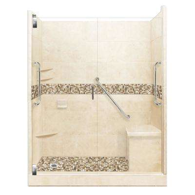 Roma Freedom Grand Hinged 36 in. x 60 in. x 80 in. Left Drain Alcove Shower Kit in Desert Sand and Satin Nickel Hardware
