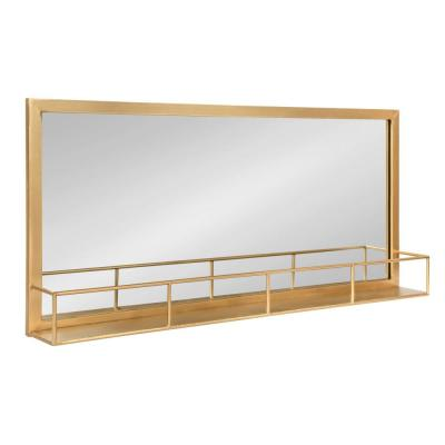 Small Rectangle Gold Art Deco Mirror (18 in. H x 40 in. W)