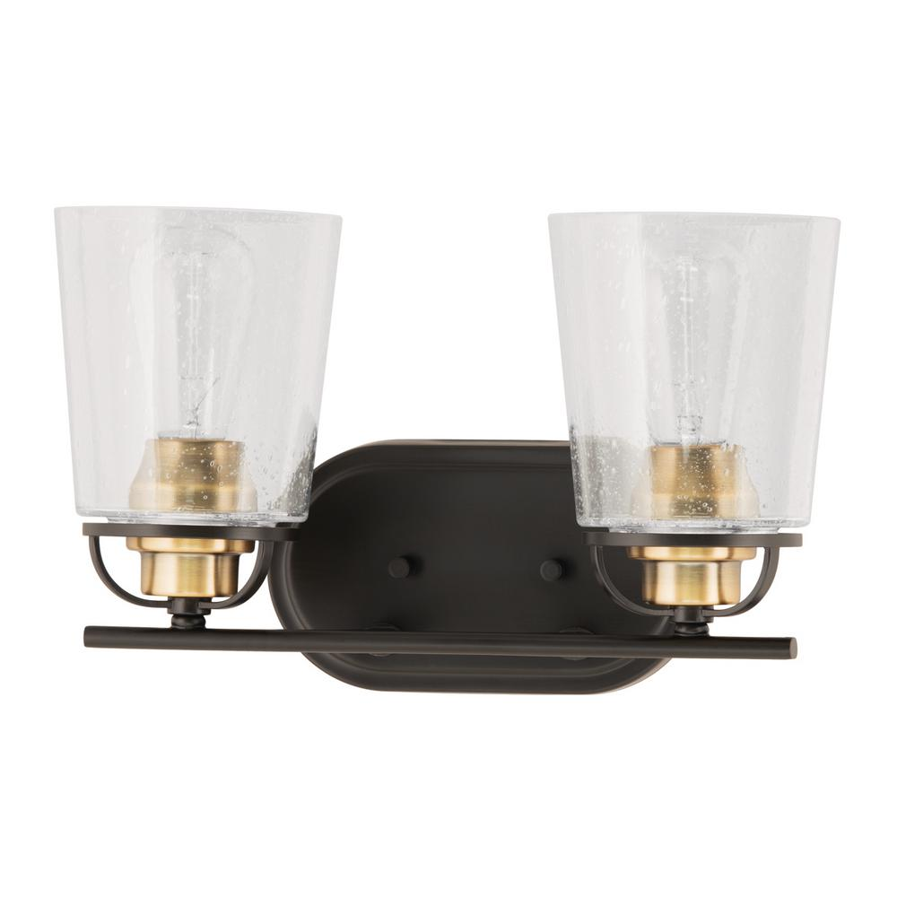 Progress Lighting Inspiration Collection 2-Light Antique Bronze Vanity Light with Clear Seeded ...