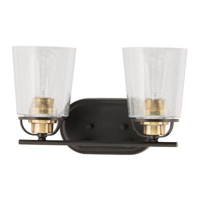 Inspiration 14 in. 2-Light Antique Bronze Bathroom Vanity Light with Glass Shades