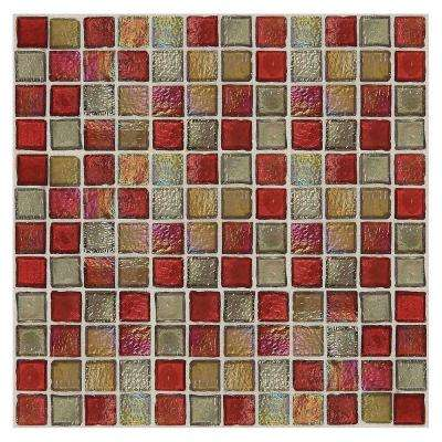 Egyptian Glass Garnet Gallery 12 in. x 12 in. x 6 mm Glass Face-Mounted Mosaic Wall Tile