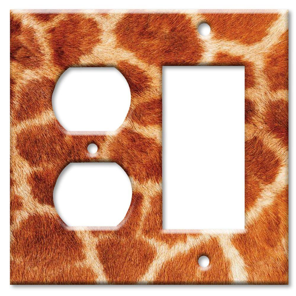 Art Plates Giraffe Fur Print Outlet/Rocker Combo Wall Plate