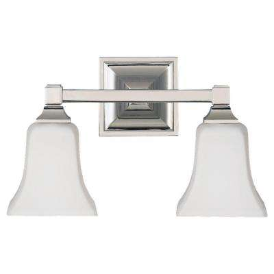 American Foursquare 2-Light Polished Nickel Vanity Light