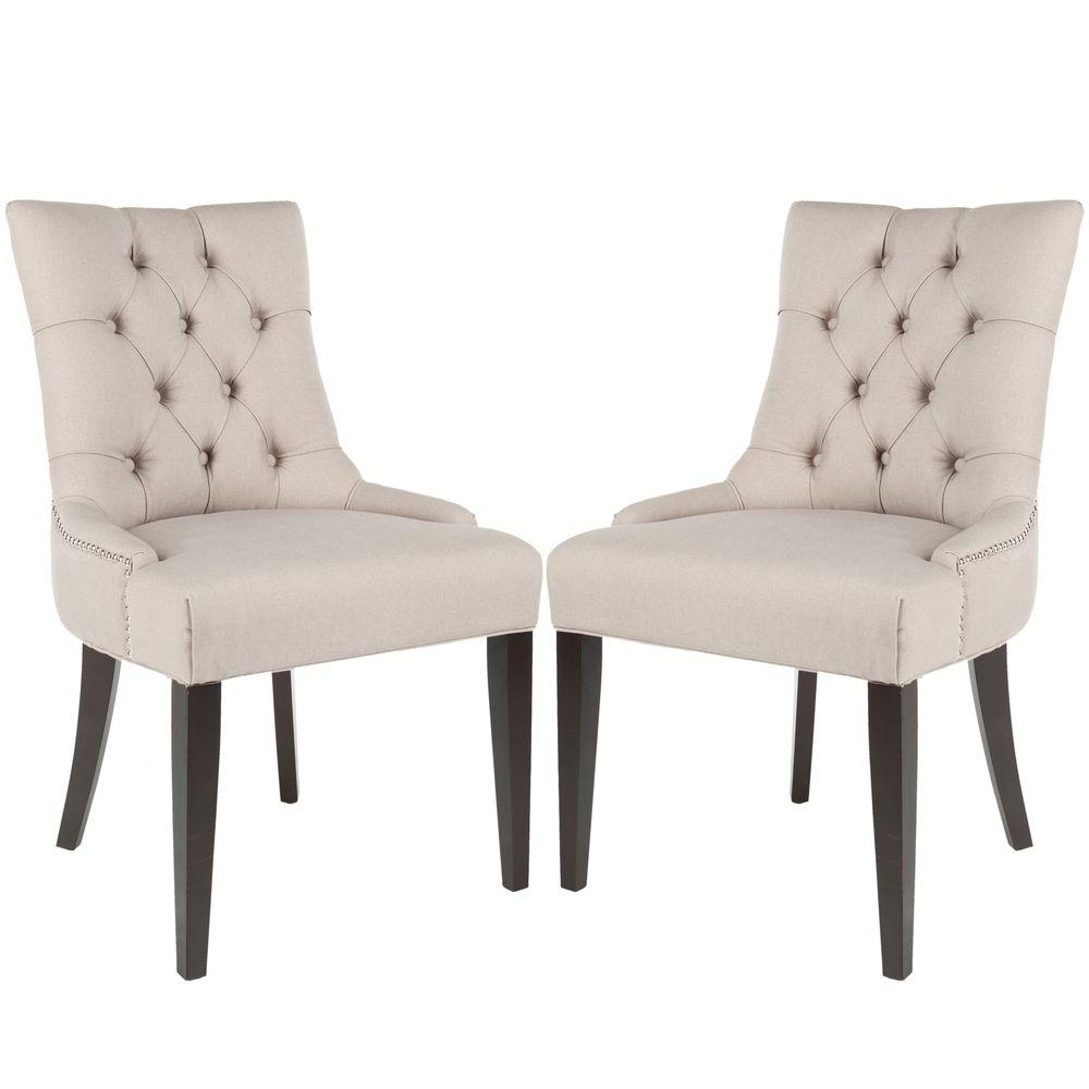 Safavieh Abby Taupe/Espresso Linen Side Chair (Set of 2)