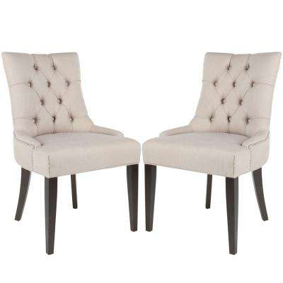 Abby Taupe/Espresso Linen Side Chair (Set of 2)