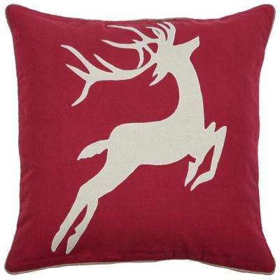 Holiday Deer 20 in. x 20 in. Decorative Filled Pillow