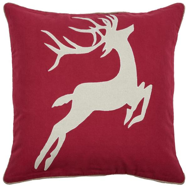 Rizzy Home Holiday Deer 20 in. x 20 in. Decorative Filled Pillow