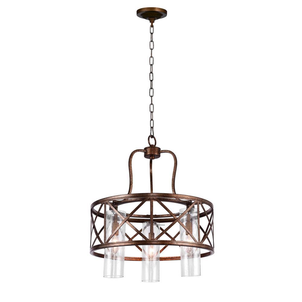 Keeva 3-Light Wood Grain Bronze Chandelier