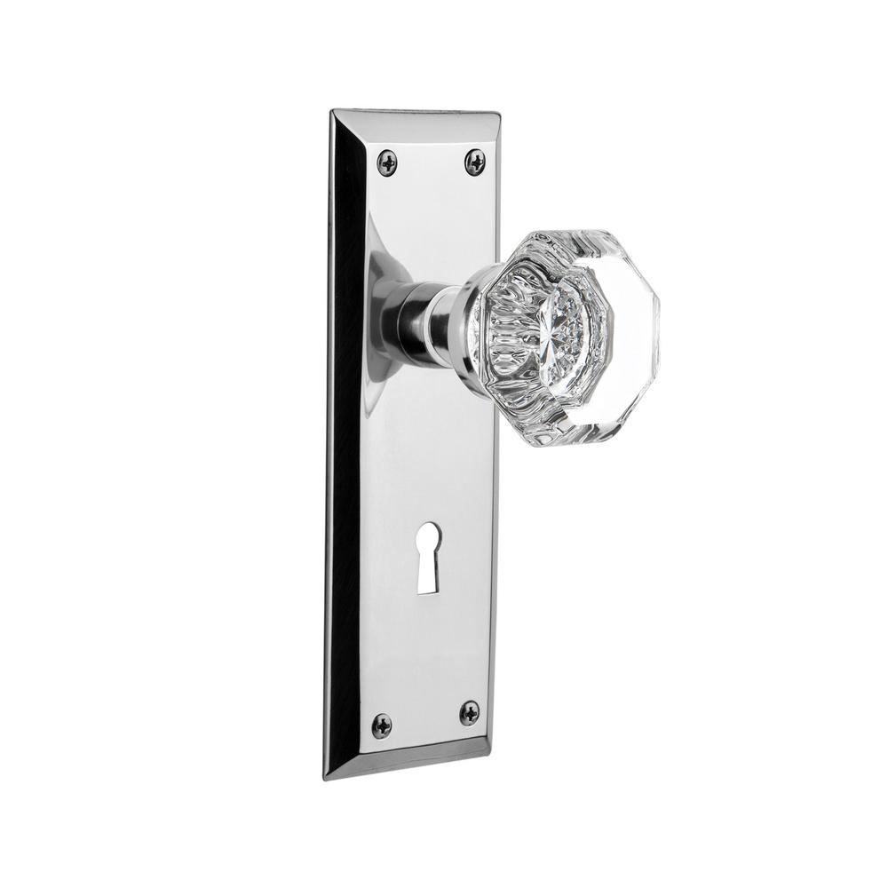 Nostalgic Warehouse New York Plate Interior Mortise Waldorf Door Knob In  Bright Chrome