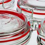 General Store Cottage Chic 4-Piece Glass Preserving Jar with Wire Bail and Trigger Closure