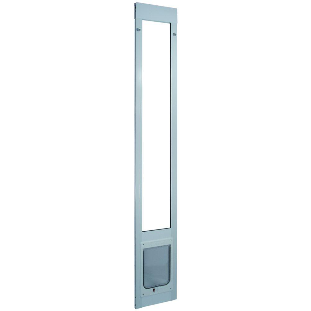 Ideal Pet 7.5 in. x 10.5 in. Large Chubby Kat White Aluminum Pet Patio Door Fits 77.6 in. to 80.4 in. Standard Alum Slider