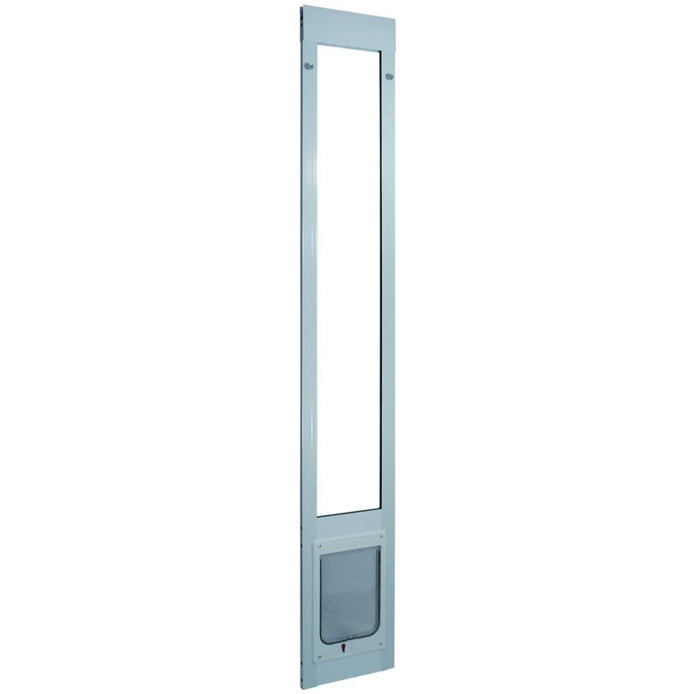 7.5 in. x 10.5 in. Large White Chubby Kat Pet Patio Door Insert for 93.75 in. to 96.5 in. Tall Aluminum Sliding Door