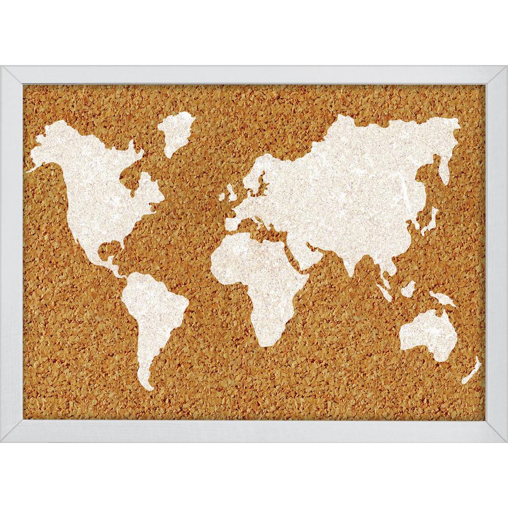 23.5 in. x 17 in. The World Printed Cork Board