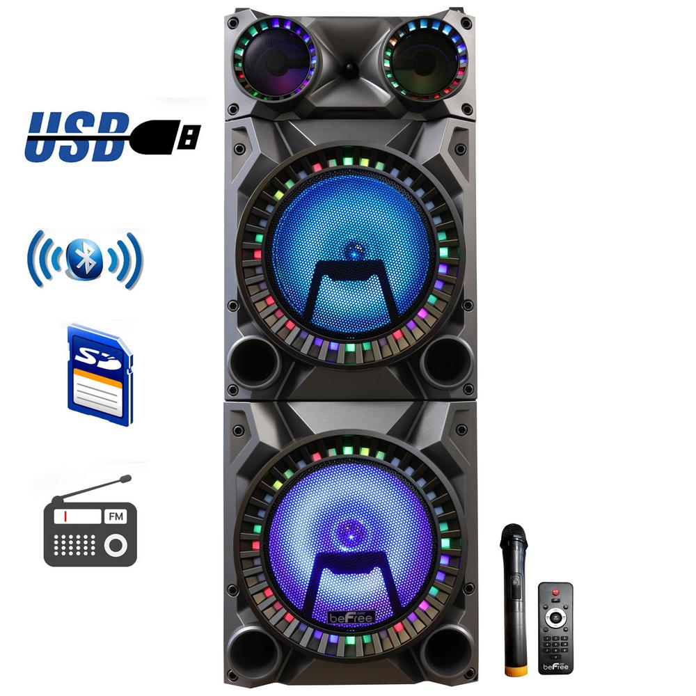 12 in. Rechargeable Double Subwoofer Portable Bluetooth Party Speaker