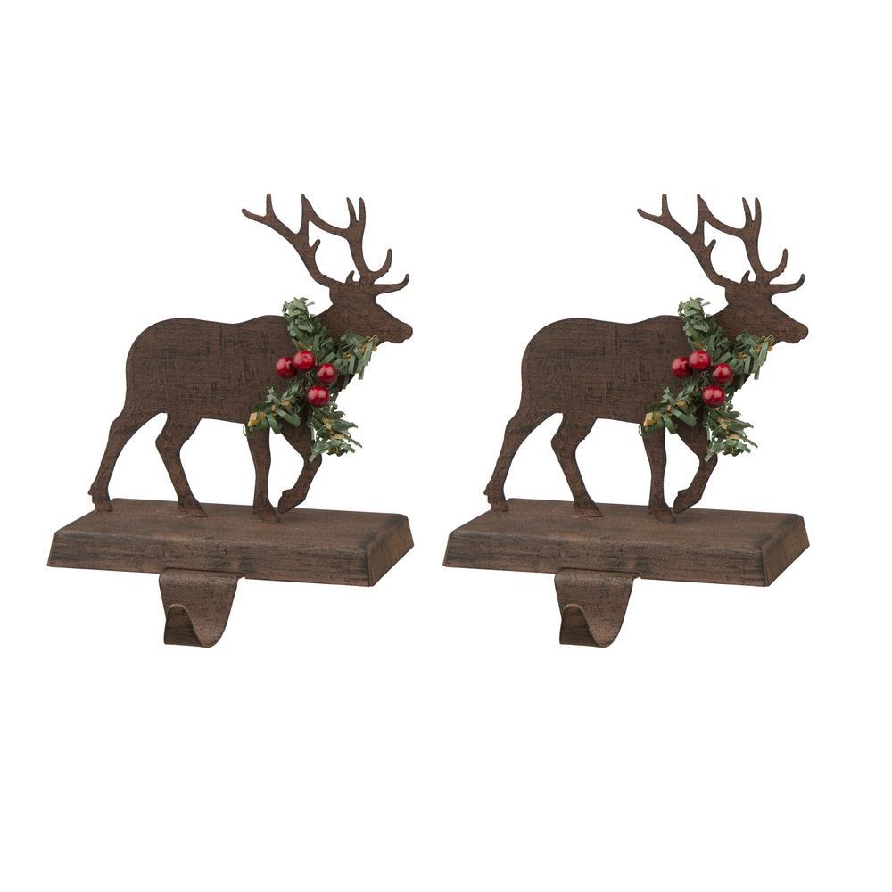 Wooden/Metal Reindeer Stocking Holder (2-Pack)