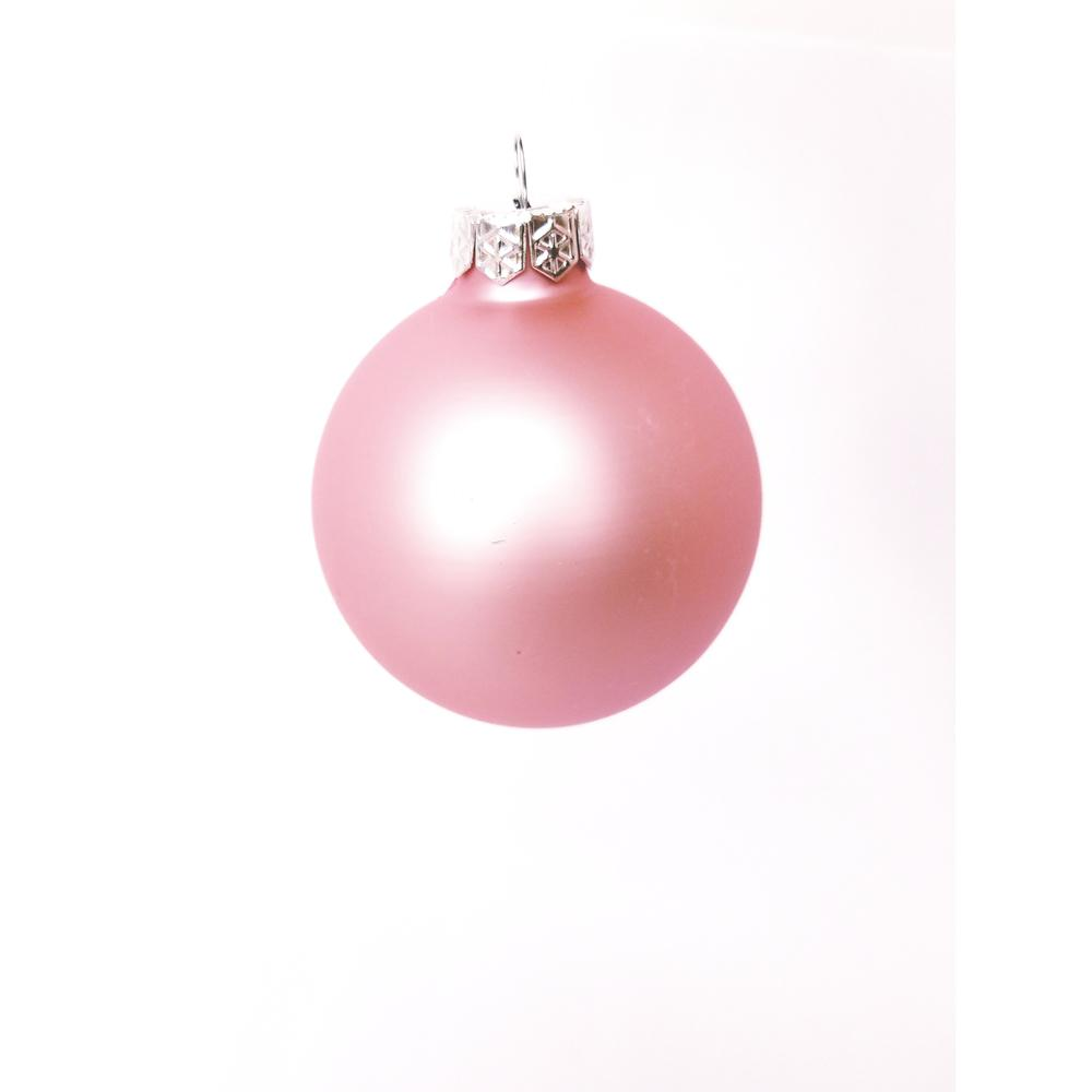 2.75 in. Baby Pink Matte Glass Christmas Ornaments (12-Pack)