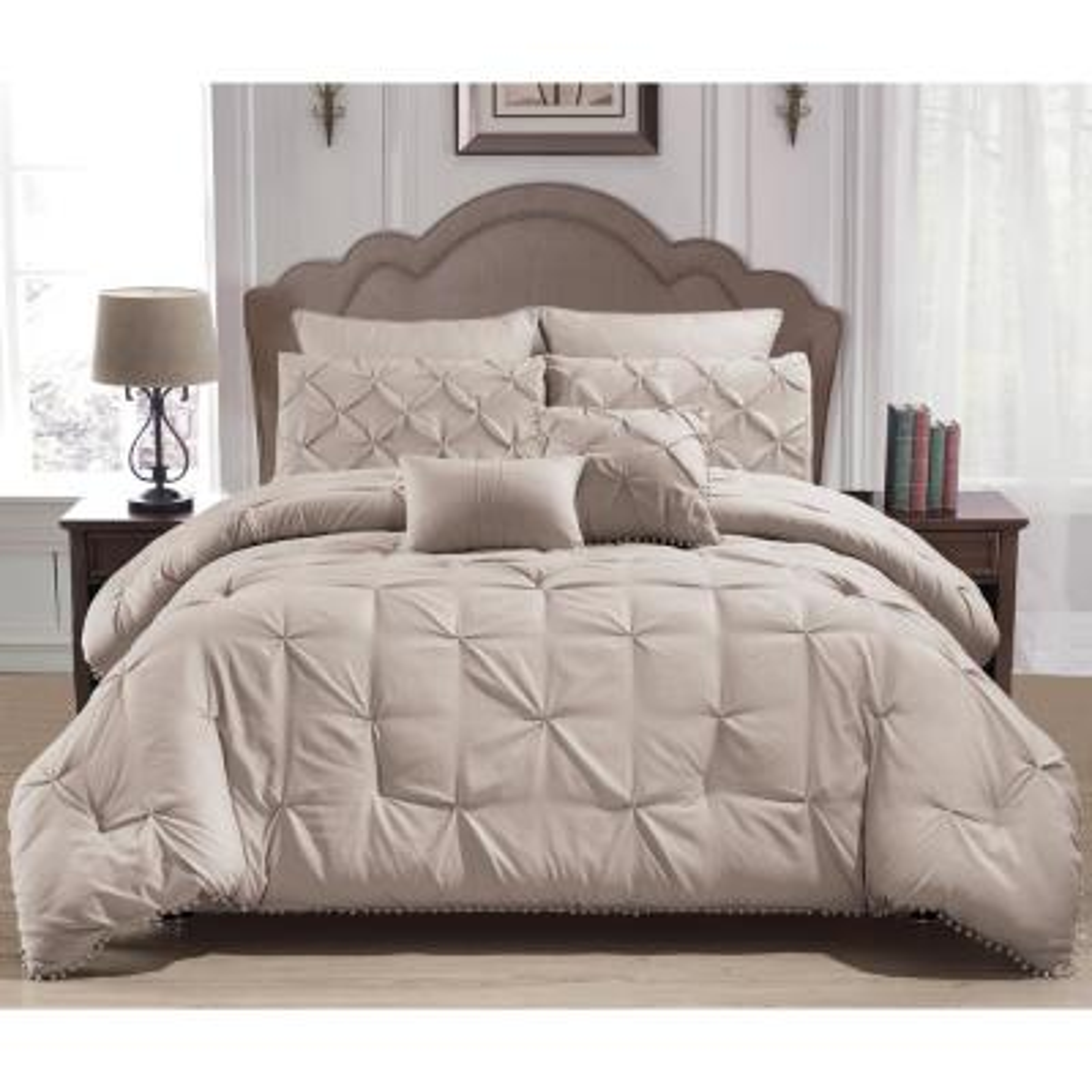 Esmalinda 7-Piece Taupe Queen Comforter Set