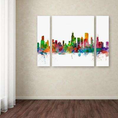 """24 in. x 32 in. """"Chicago Illinois Skyline"""" by Michael Tompsett Printed Canvas Wall Art"""