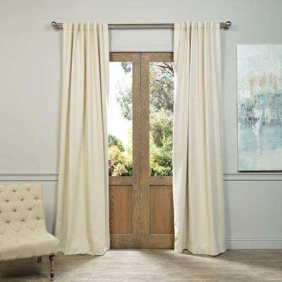Semi-Opaque Egg Nog Ivory Blackout Curtain - 50 in. W x 96 in. L (Pair)