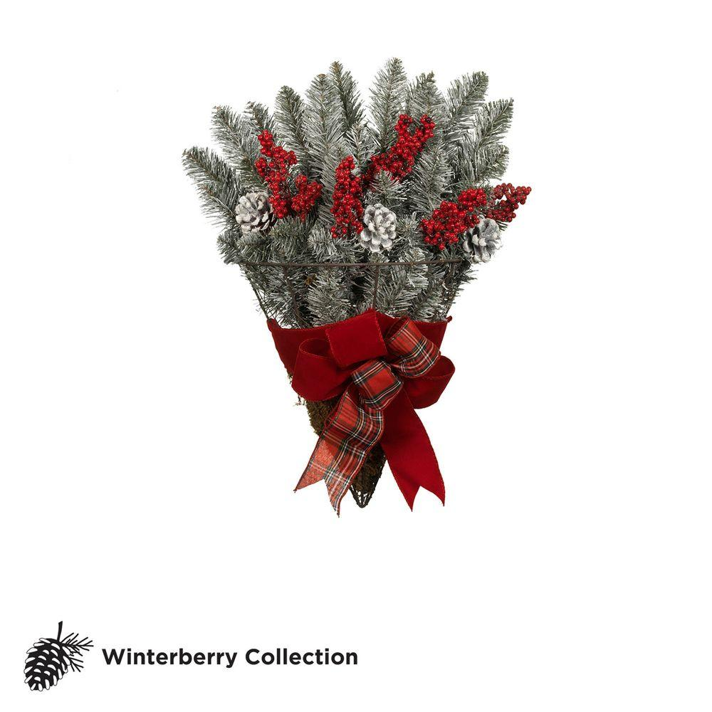 Martha Stewart Living 19 in. Snowy Fir Wire Basket with Red Berries