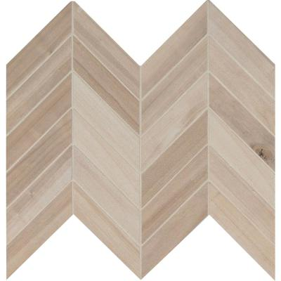 Havenwood Beige Chevron 12 in. x 15 in. x 9 mm Matte Porcelain Mesh-Mounted Mosaic Tile (10 sq. ft. / case)