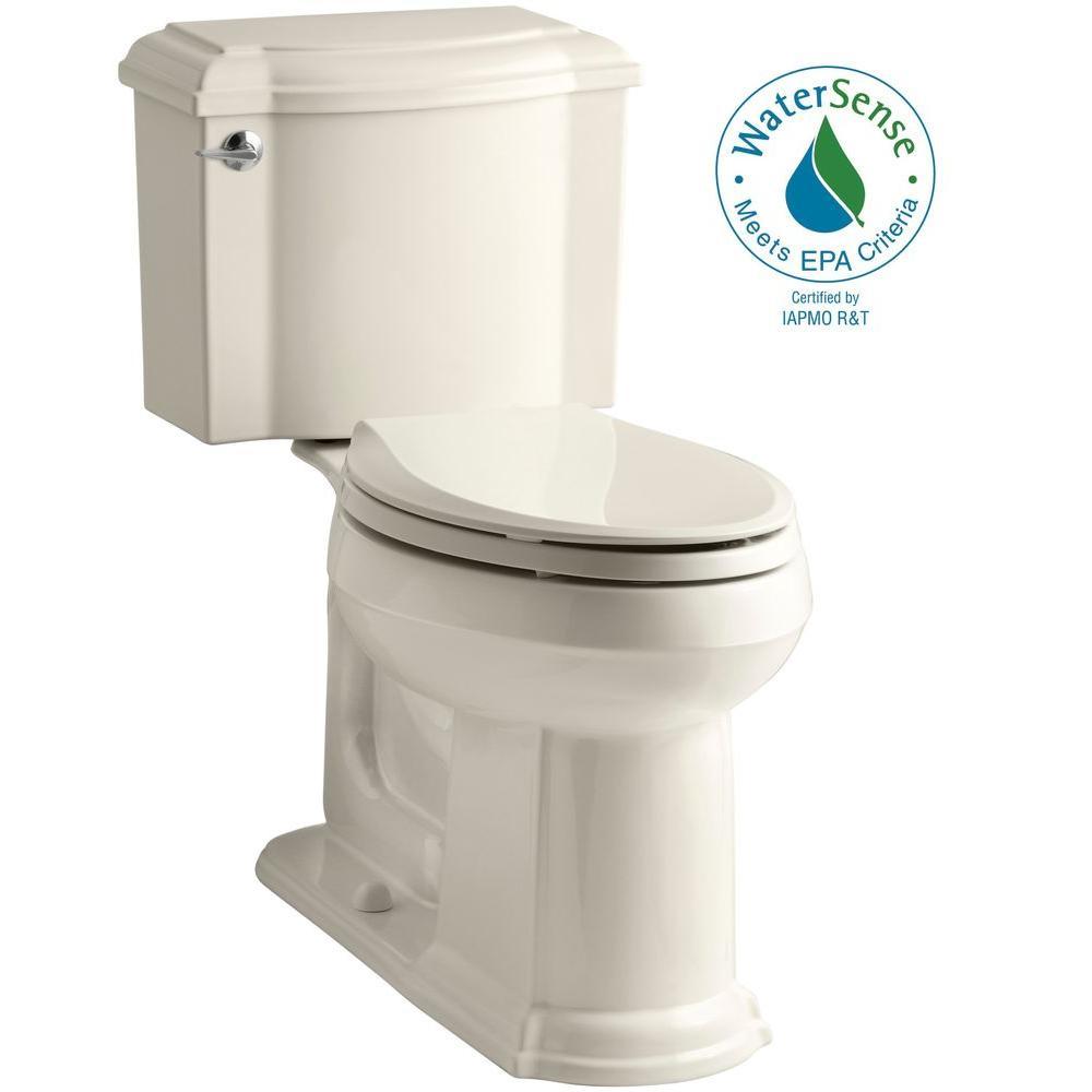 Devonshire 2-piece 1.28 GPF Single Flush Elongated Toilet with AquaPiston Flush Technology in Almond