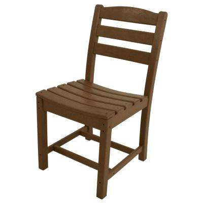 La Casa Cafe Teak All-Weather Plastic Outdoor Dining Side Chair