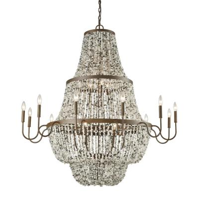 Agate Stones 21-Light Weathered Bronze with Gray Agate Stones Chandelier