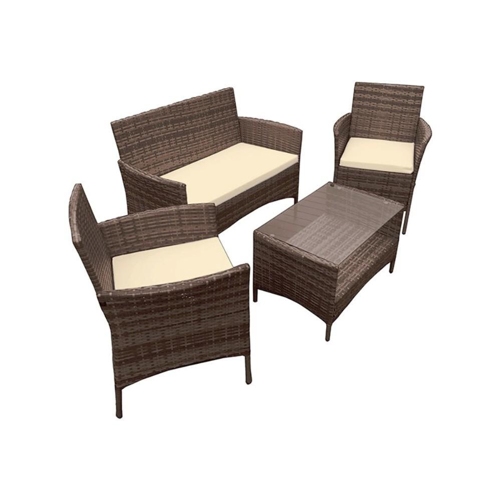 Caprera 4-Piece Rattan Furniture Set in Brown