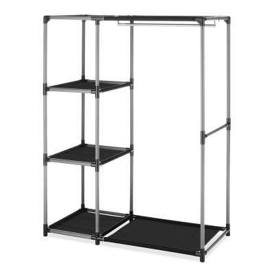 39.1 in. x 50 in. Ebony And Chrome Spacemaker Garment Rack With 3 Shelves