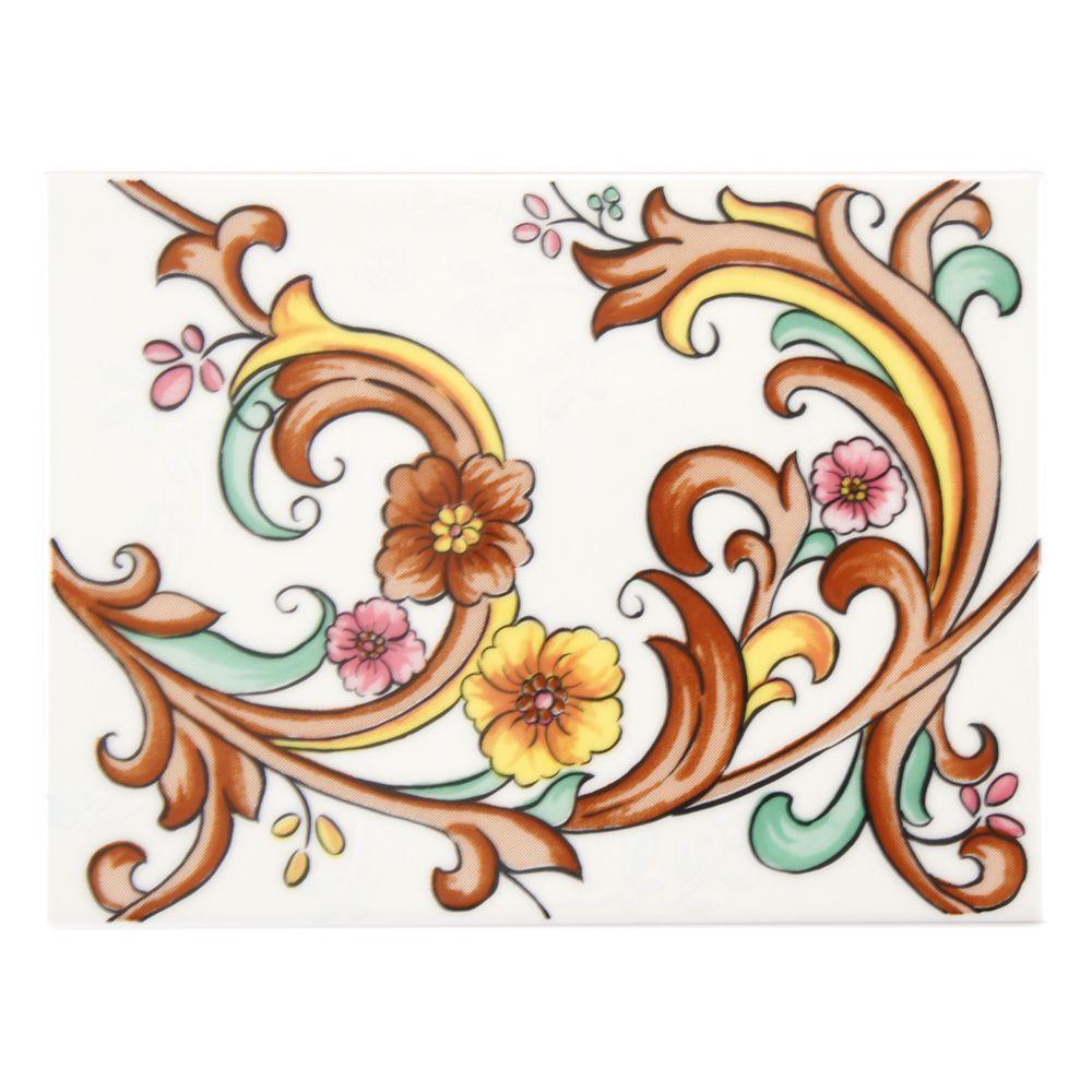 Galan Melado Flor 6 in. x 8 in. Ceramic Decor Wall Tile