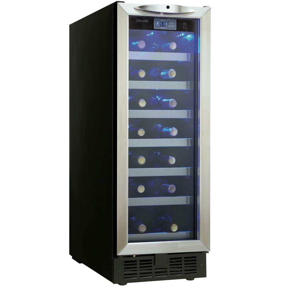 Danby Silhouette 27-Bottle Built-In Wine Cooler, Silver Purposefully designed to take up as little cabinet space as possible, this slim wine cellar is ideally suited for small kitchens, wet bars or dens, At a mere 12 in. wide, you only need a single foot of cupboard space for this piece to fit. Color: Stainless steel.