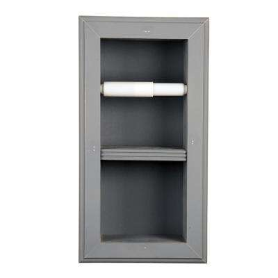 Newton Recessed Toilet Paper Holder 22 Holder in Primed Vertical Wall Hugger Frame in Gray