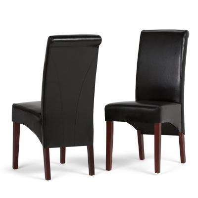 Avalon Contemporary Deluxe Parson Dining Chair (Set of 2) in Midnight Black Faux Leather