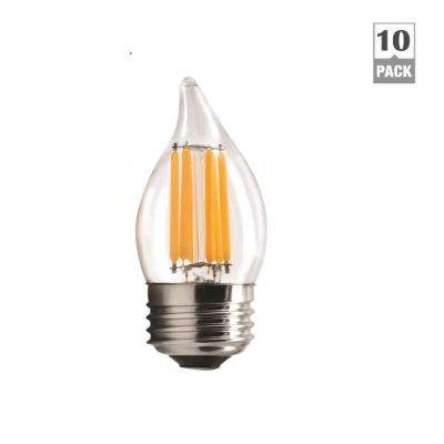 60-Watt Equivalent B11 Dimmable Flame Tip Clear Filament Glass LED Light Bulb Warm White 2700K (10-Pack)